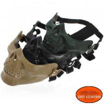 Masque Couvre Casque Biker Tête de Mort  multicolor accessoire casque moto custom harley trike chopper et bobber