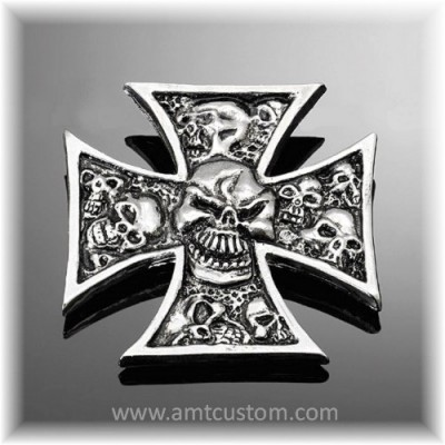 Adhesive Emblem Metal Chrome Iron Cross Skull custom biker trike harley