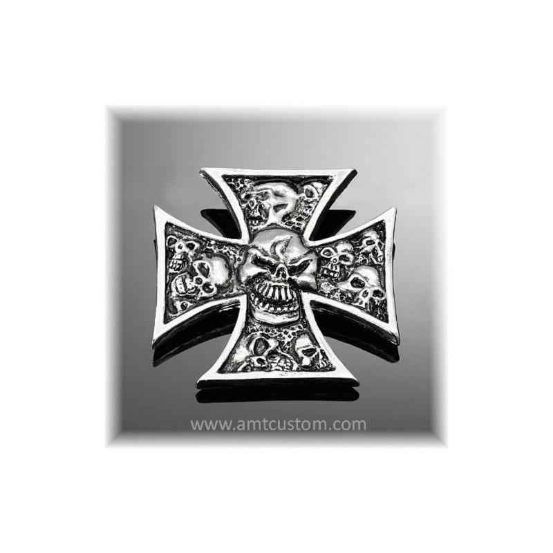 Adhesive Emblem Metal Chrome Iron Cross Skull custom biker trike harley
