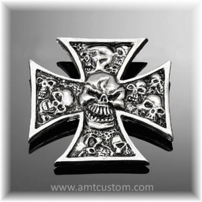 Adhesive Emblem Metal Chrome Iron Cross Skull.