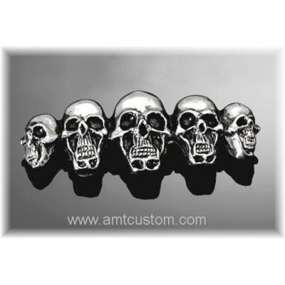 5 skull bagde Self-adhesive metal emblem custom biker trike