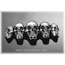 Emblème adhesif skull Tête de Mort moto custom HD harley chrome