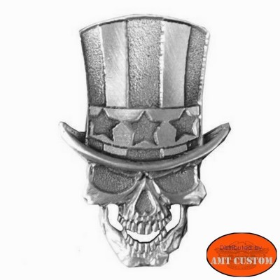 Badge Skull Uncle Sam Pin custom kustom for vest jackets harley trike