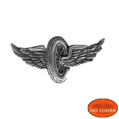 Winged Wheel biker pin custom kustom for vest jackets harley trike