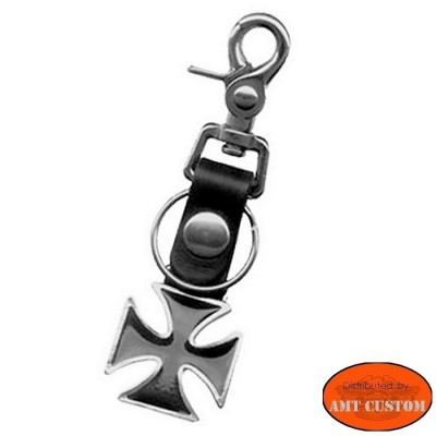 Leather Iron Cross bottle opener keyring motorcycle harley custom biker