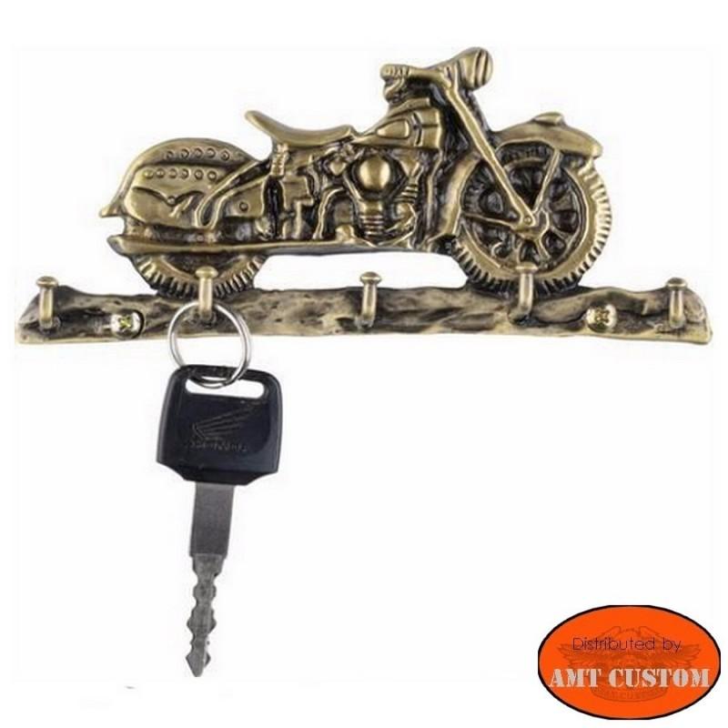 MOTORCYCLE KEY-RACK BRASS, WITH 5 HOOKS harley custom biker