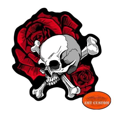 Patch écusson Biker Lady Skull Bones Roses moto custom pour veste et gilet cuir