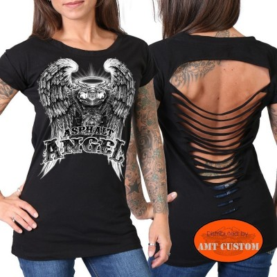T-shirt Lady Angel VTwin harley dos déchiré