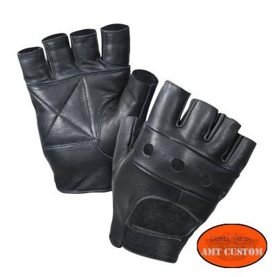 Studded fingerless Gloves leather H-D/Hells Design