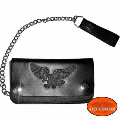 Leather wallet Biker Eagle Harley custom chopper trike