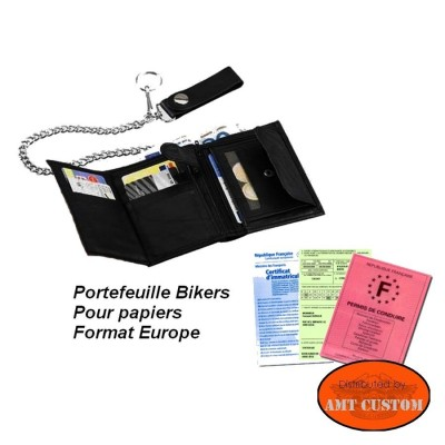 Black Biker leather wallet open view