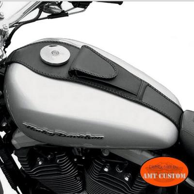 Leather tank panel Harley Sportster Softail custom