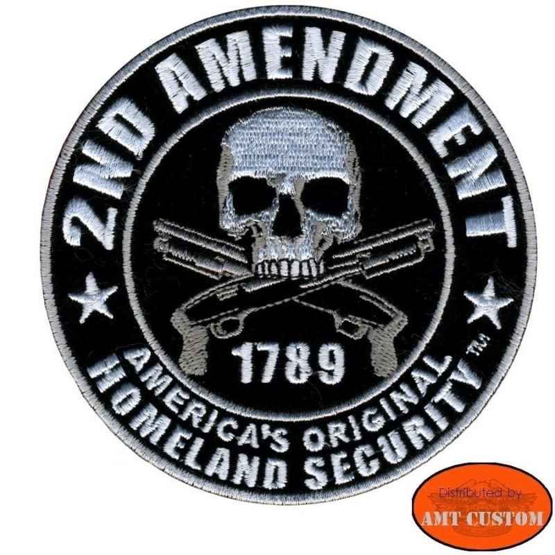 """Patch écusson Biker Skull """"2nd amendement"""" pour veste moto custom"""