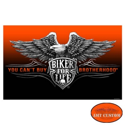 Drapeau Biker Aigle Biker for life HD Harley custom chopper moto