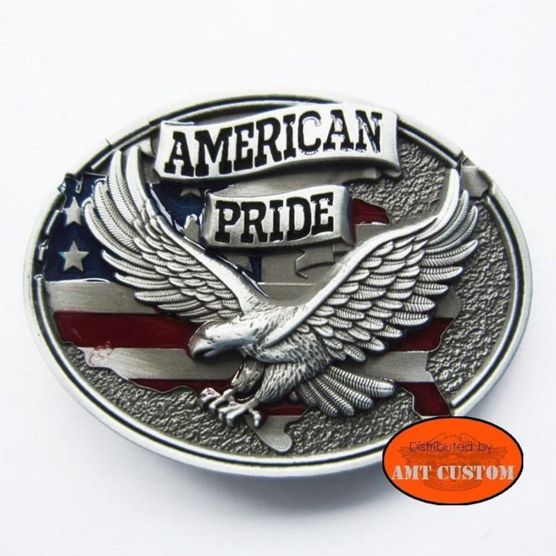Boucle de Ceinture Biker Eagle American Pride drapeau moto custom ceinture en cuir harley