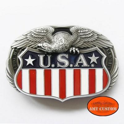 USA flag and eagle US Belt Buckle custom harley chopper trike