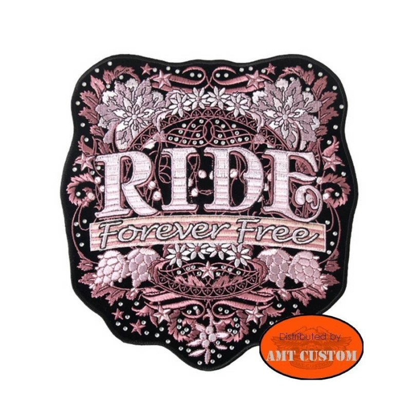 Patch écusson lady rider Flower forever free femme moto custom harley