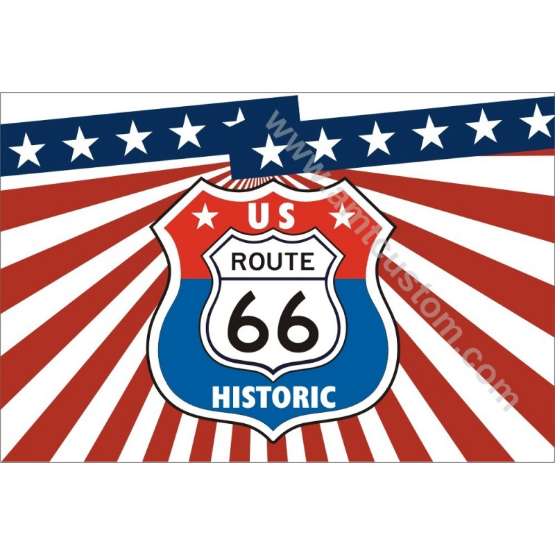 Drapeau d'ornement Route 66 US LUXE moto HD Harley custom chopper