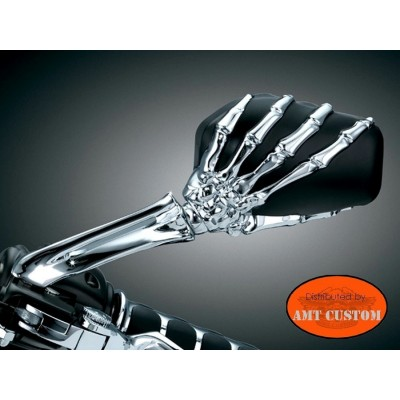 2 Black and chrome skeleton hand mirrors motorcycle Custom