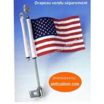 Dimensions Mat et support Drapeau pour rack tube porte bagage moto trike custom Harley aigle