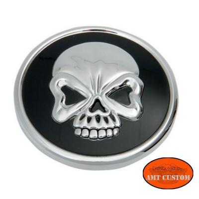 Bouchon réservoir Skull Tête de mort chrome et noir moto Harley Davidson