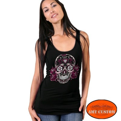 Débardeur skull fleurie tête de mort mexicaine