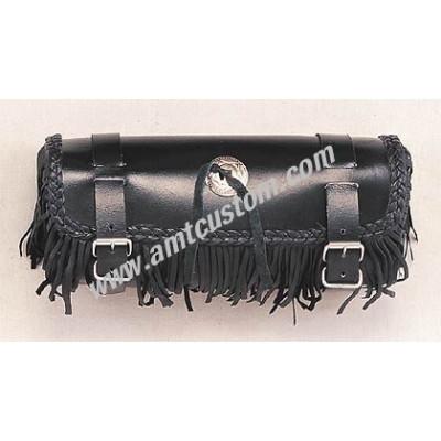 Sacoche outils de fourche cuir à franges Moto customs