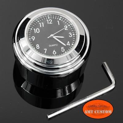 Montre Guidon noire / chrome diamètre 22mm et 25 mm modele noir