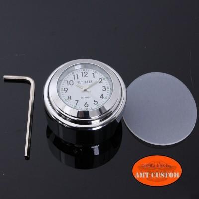 Montre Guidon noire / chrome diamètre 22mm et 25 mm modele blanc