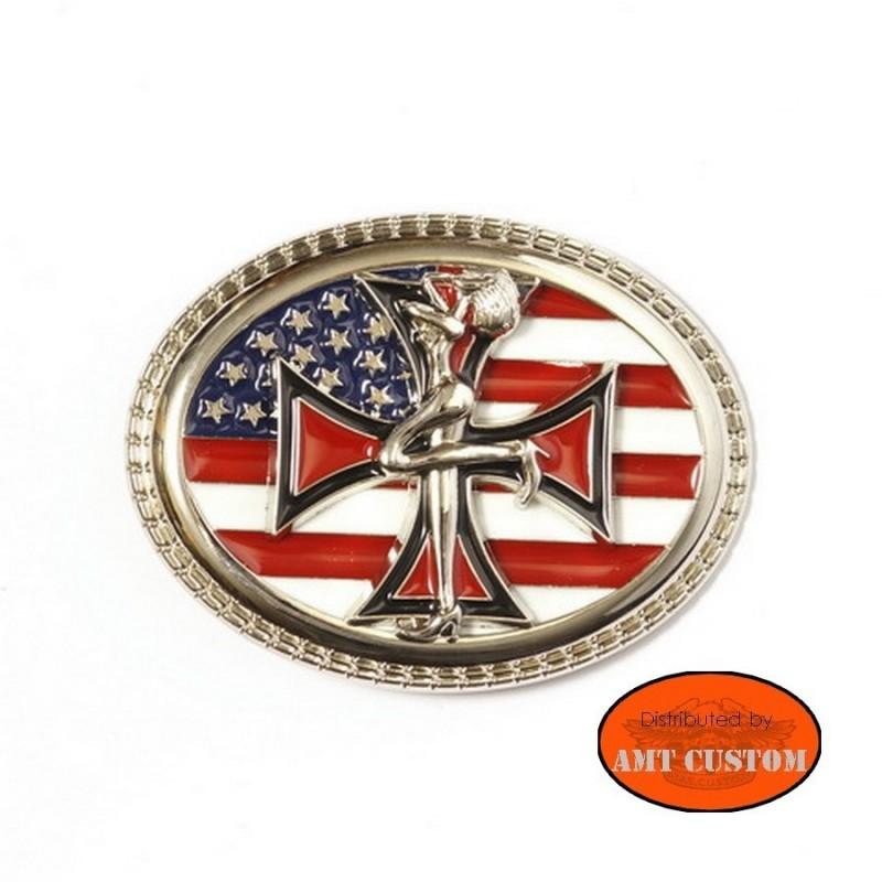 Boucle Bikers Country Flag US pin'up drapeau americain harley ceinture