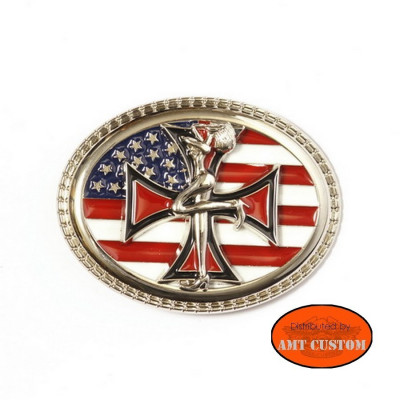 Boucle Bikers Country Flag US pin'up