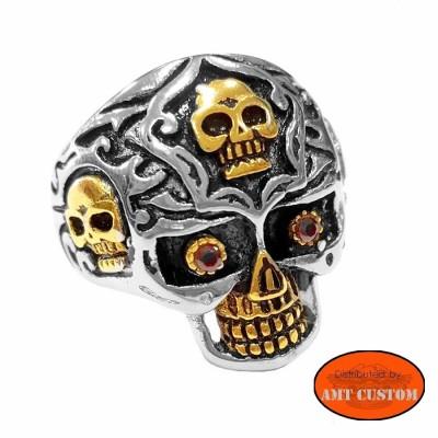 Gold Skull biker Ring motorcycles custom