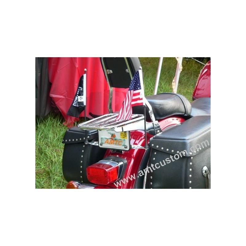 Mat et support Drapeau Noir ou Chrome moto trike - montage plaque