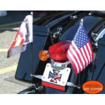 Mat et support Drapeau Noir ou Chrome moto Harley