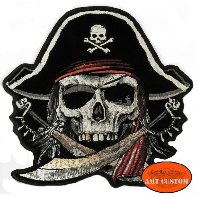 Patch écusson Biker capitaine Pirate veste moto gilet cuir harley