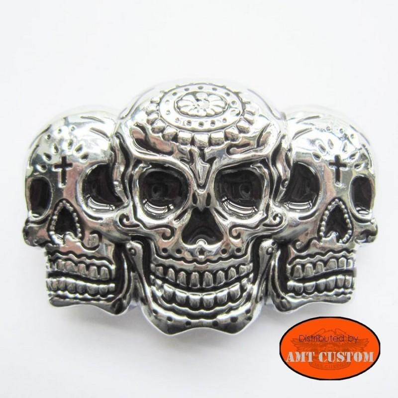 Boucle ceinture Skull Trio Mexicaine tête de mort biker moto custom