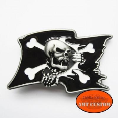 Biker Pirate skull belt buckle custom harley chopper trike