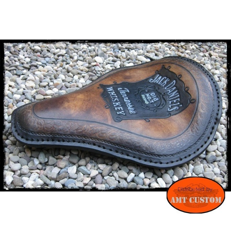 Selle solo cuir marron Jack Daniels choppers
