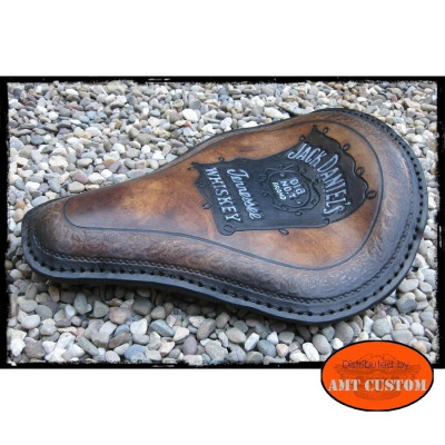 Selle solo cuir marron Jack Daniel's choppers