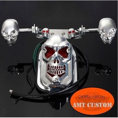 Kit feux stop skull avec clignotant moto custom harley
