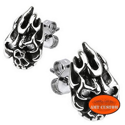 Skull Earrings skull stainless steel bikerlady rider girl chopper motorcycle accessories biker trike