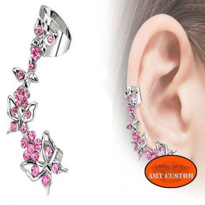 Boucle d'oreille Papillon strass rose lady rider chopper bobber trike biker