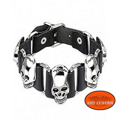 Skull leather bracelet motocycle biker harley chopper