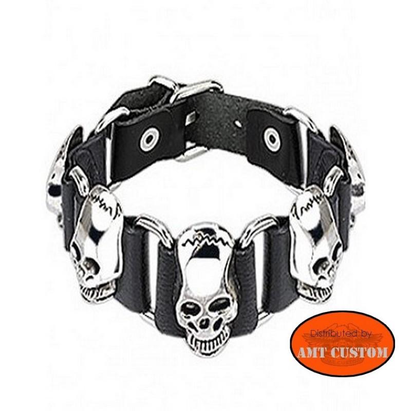 Bracelet cuir Skull biker skull trike chopper bobber moto accessoires