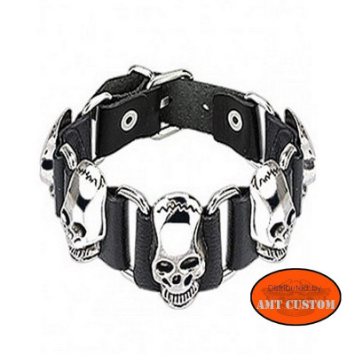 Bracelet cuir Skull