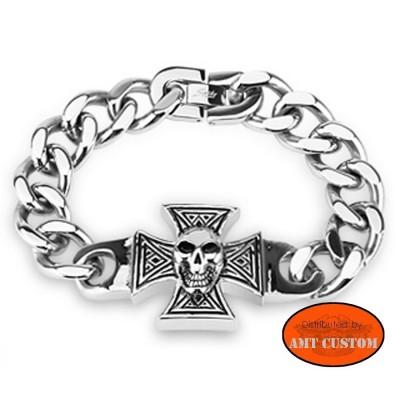Chaîne bracelet Croix de Malte tête de mort biker skull trike chopper bobber moto accessoires