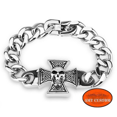 Chain Bracelet Maltese Cross biker skull trike chopper bobber motorcycle accessories