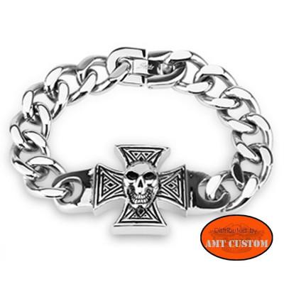 Chaîne bracelet Croix de Malte tête de mort Biker