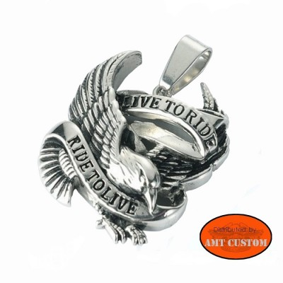 Live to ride biker pendant motorcycle stainless steel harley custom trike