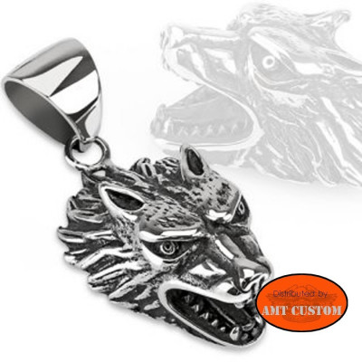 Pendentif collier Loup agressif